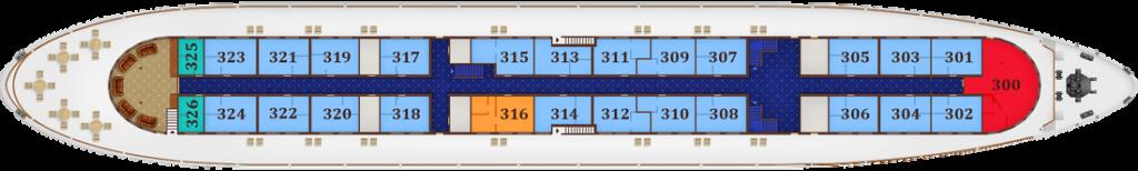 תאי DELUXE DOUBLE בקומה 3 - Promenade deck, מידות התא: 11.3 מ