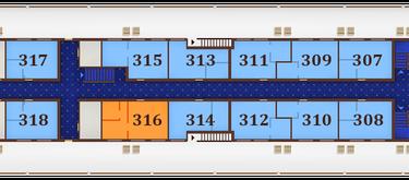 תא OWNER SUITE בקומה 3 - Promenade deck, מידות התא: 24.2 מ