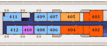 תאי DELUXE JR SUITE בקומה 4 - Sun deck, מידות התא: 15.8 מ