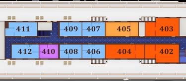 תאי DELUXE TWIN בקומה 4 - Sun deck, מידות התא: 11.7 מ