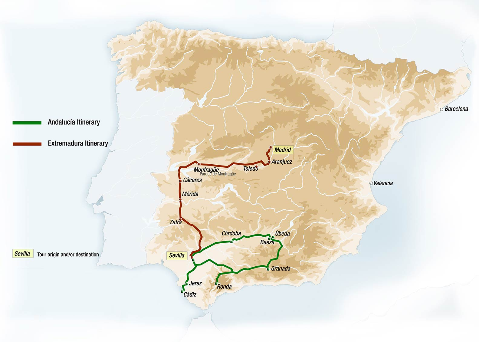 מפת הטיול ברכבת Al Andalus באקסטרמדורה, 6 ימים