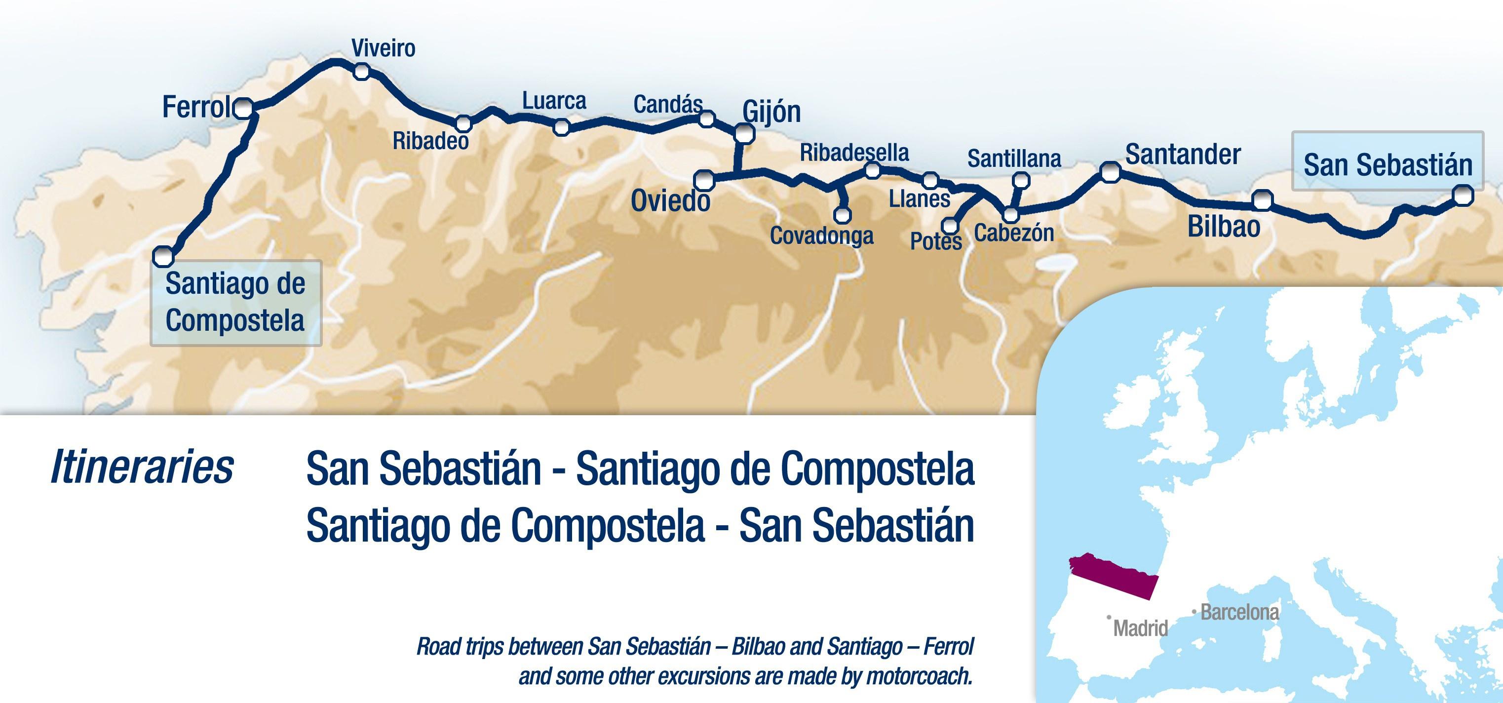 מסלול הטיול ברכבת 'אל טרנסקנטבריקו גראן לוחו', 8 ימים